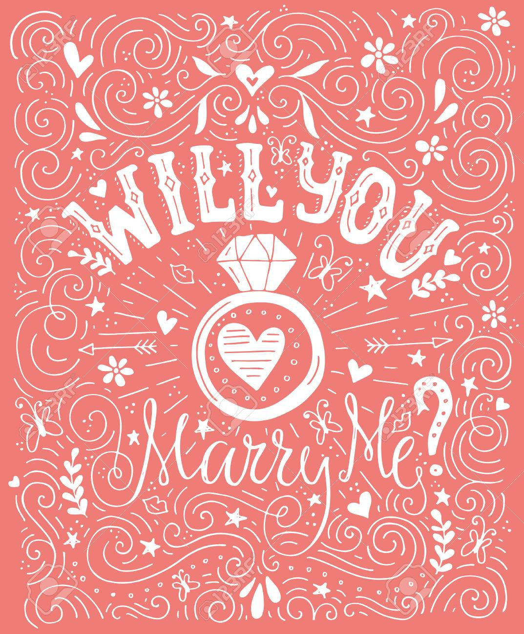 Will You Marry Me - Handdrawn Card With Marriage Proposal, Wedding ...