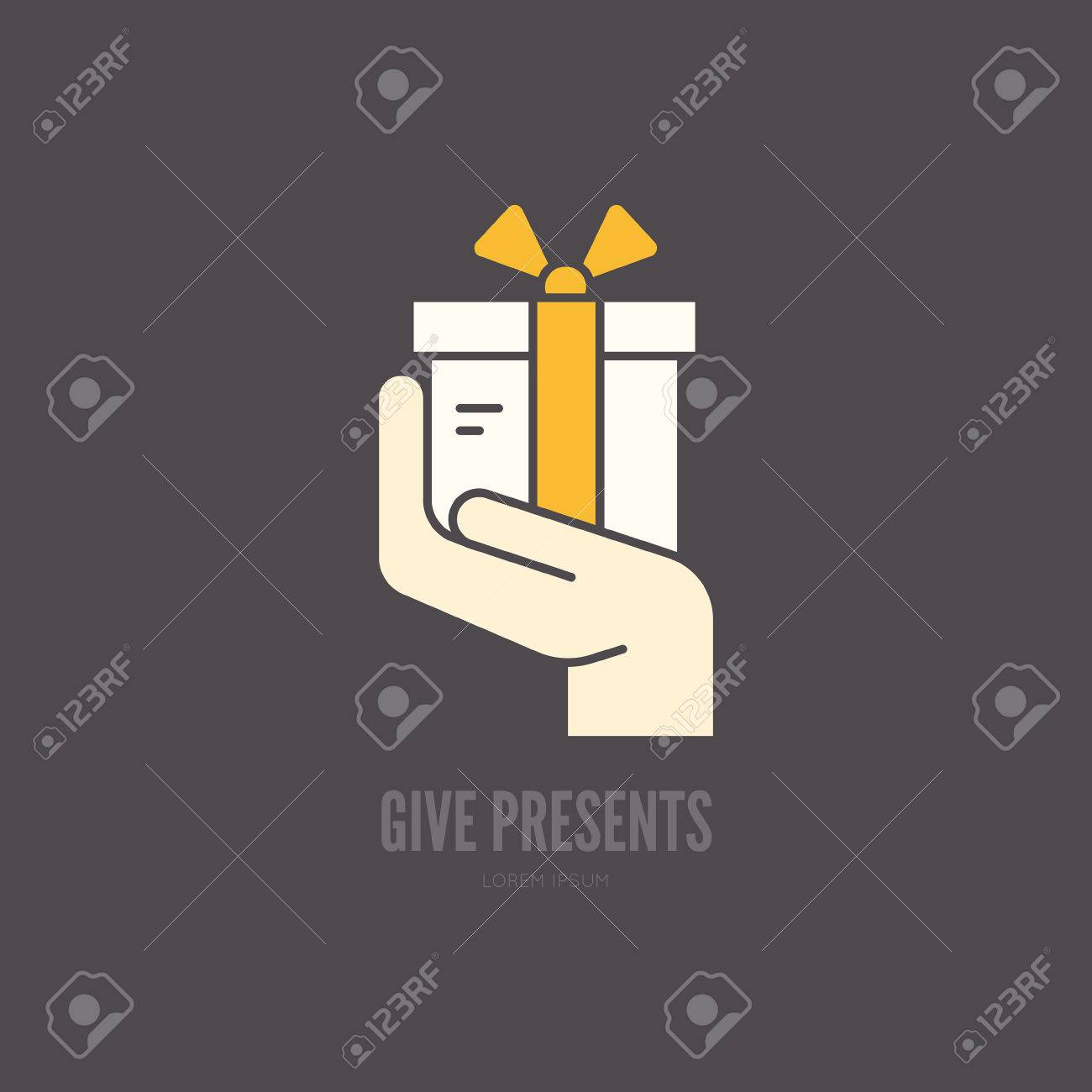 Hand holding a present symbol for charity or donation event hand holding a present symbol for charity or donation event stock vector 53115656 biocorpaavc