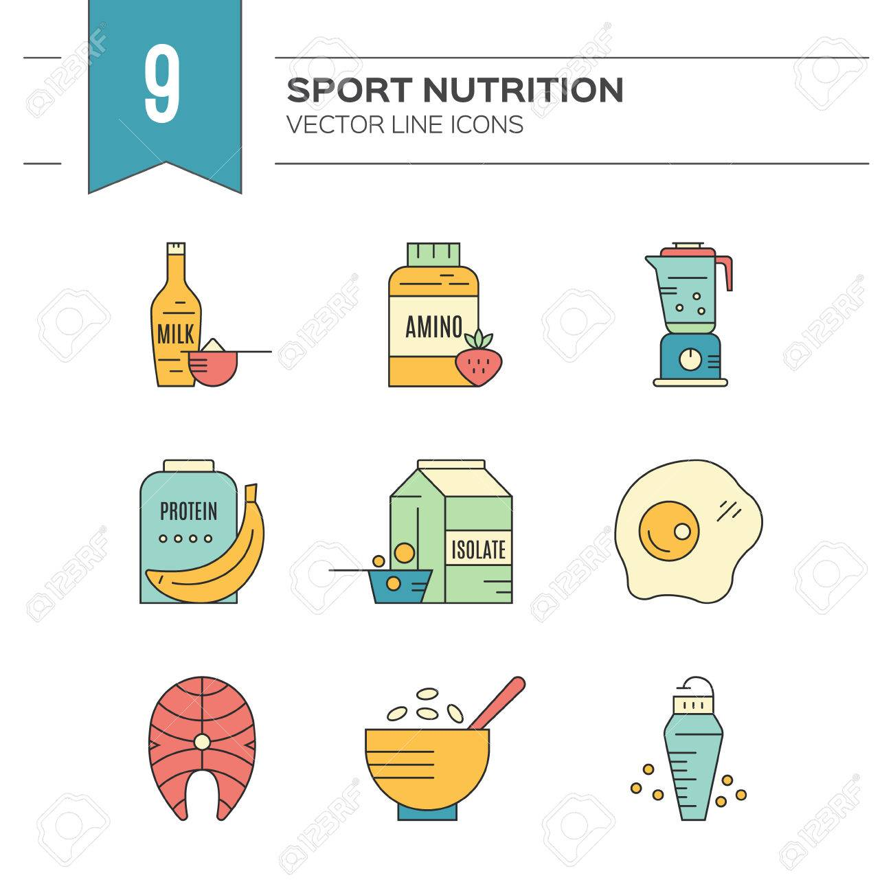 Gym And Workout Diet Symbols Made In Vector Protein Shake