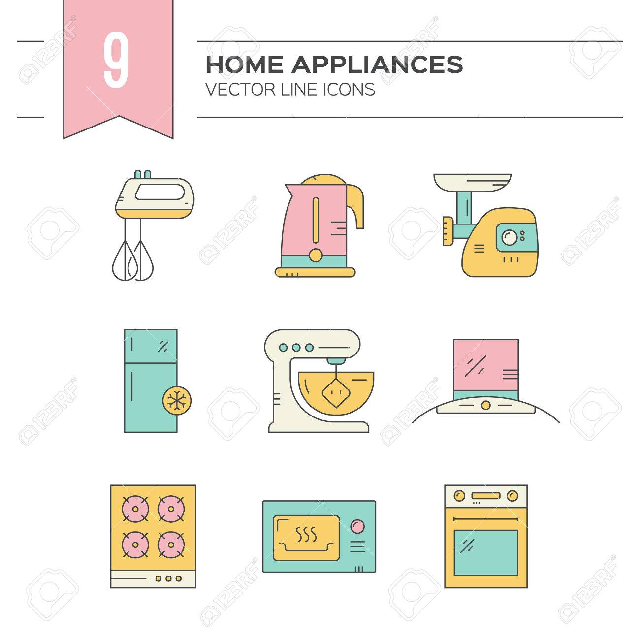 Set of kitchen appliances icons with household items