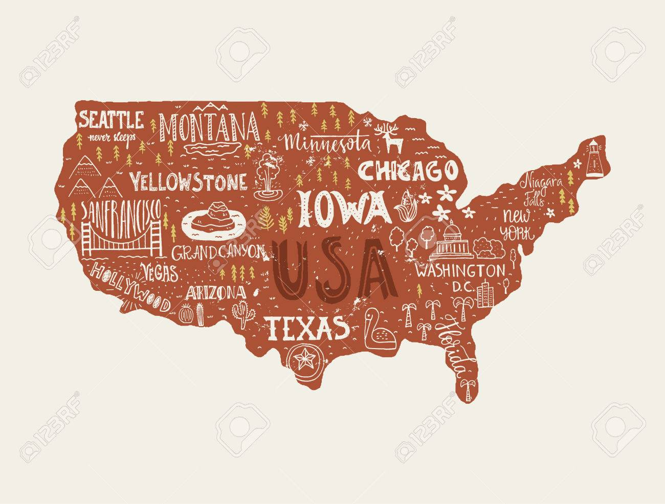 USA Map Handdrawn Illustration With Lettering And Symbols Of - Hand drawn us map vector