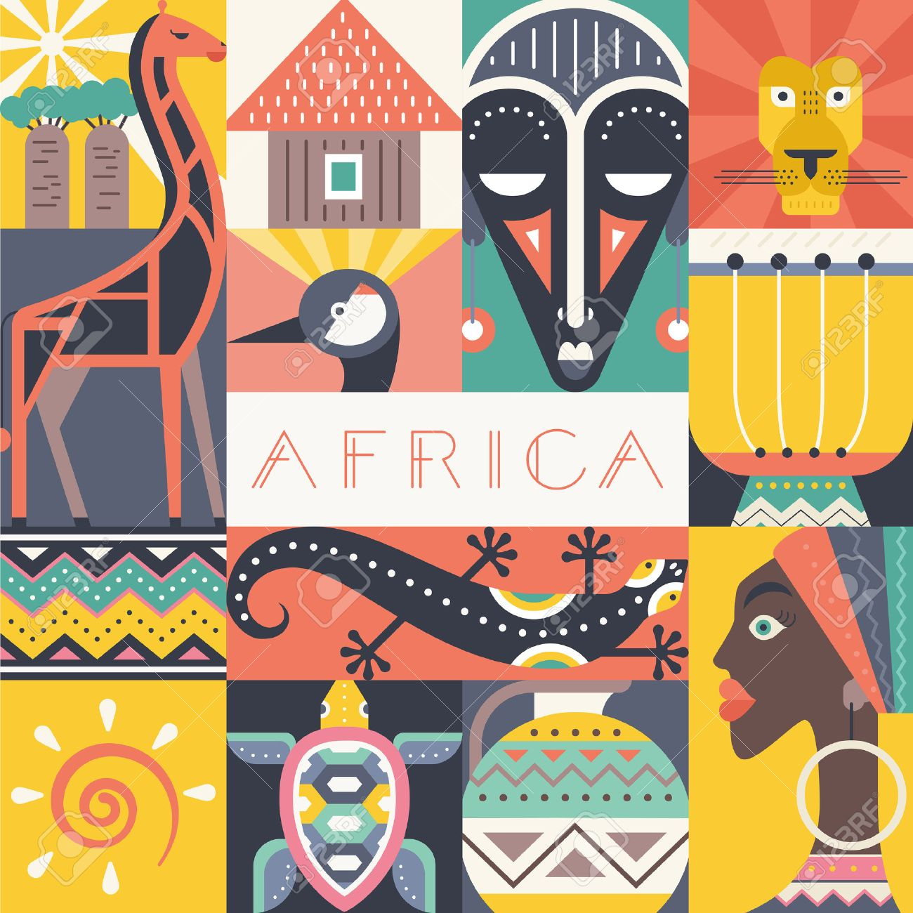 Conceptual illustration of Africa with different african symbols made in flat vector style. Travel to africa banner template. Explore the world. Traditional african symbols isolated and easy to use. African design. - 54822379