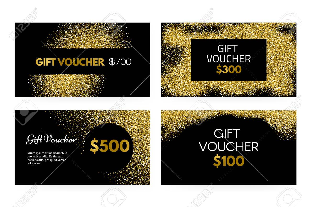 Gift Voucher Or Gift Certificate Vector Template With Golden Royalty Free Cliparts Vectors And Stock Illustration Image 54822412
