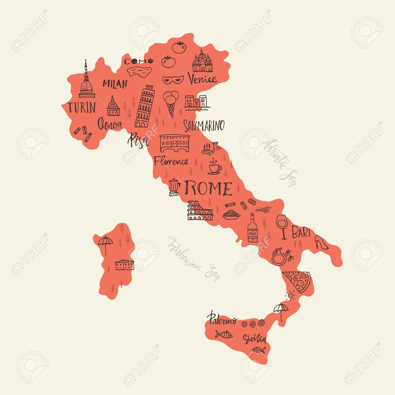 Handdrawn Symbols Of Italy On A Map Unique Illustration For