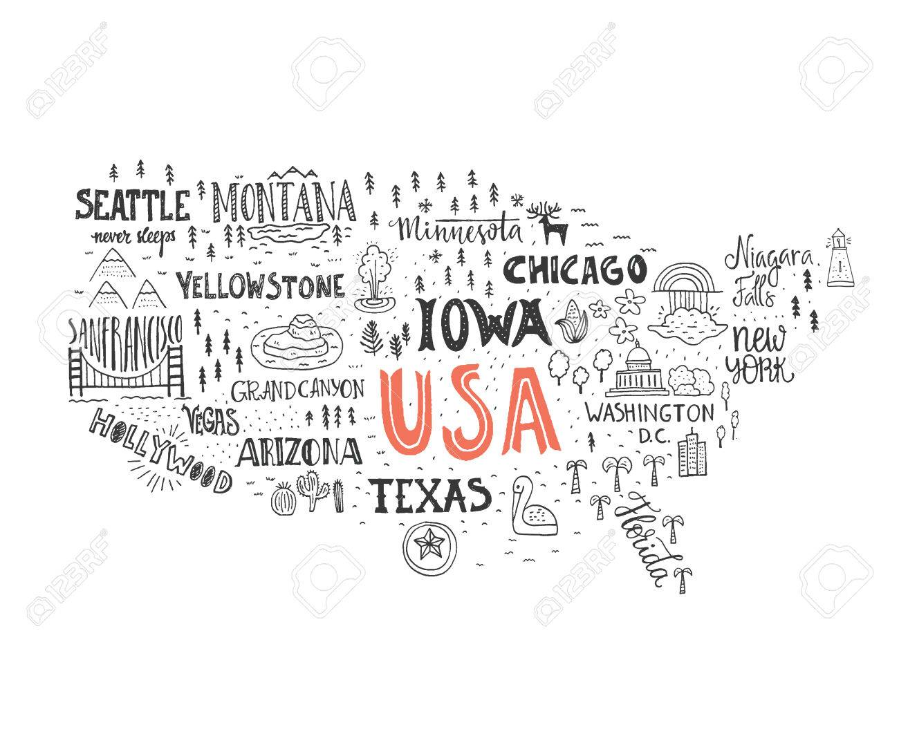 Handdrawn Illustration Of USA Map With Hand Lettering Names Of - Hand drawn us map vector