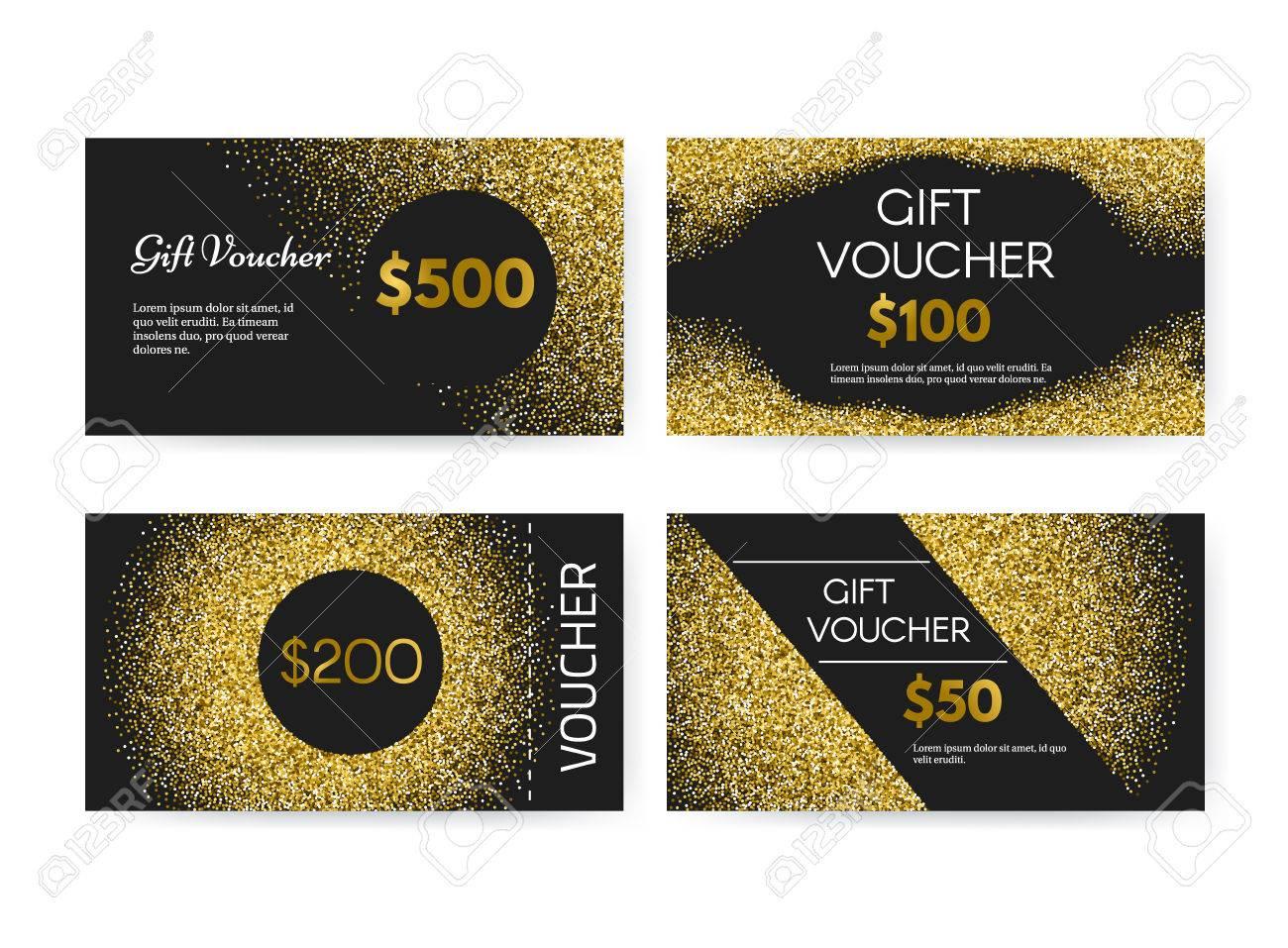 Gift Voucher Or Gift Certificate Vector Template With Golden - 100 gift certificate template