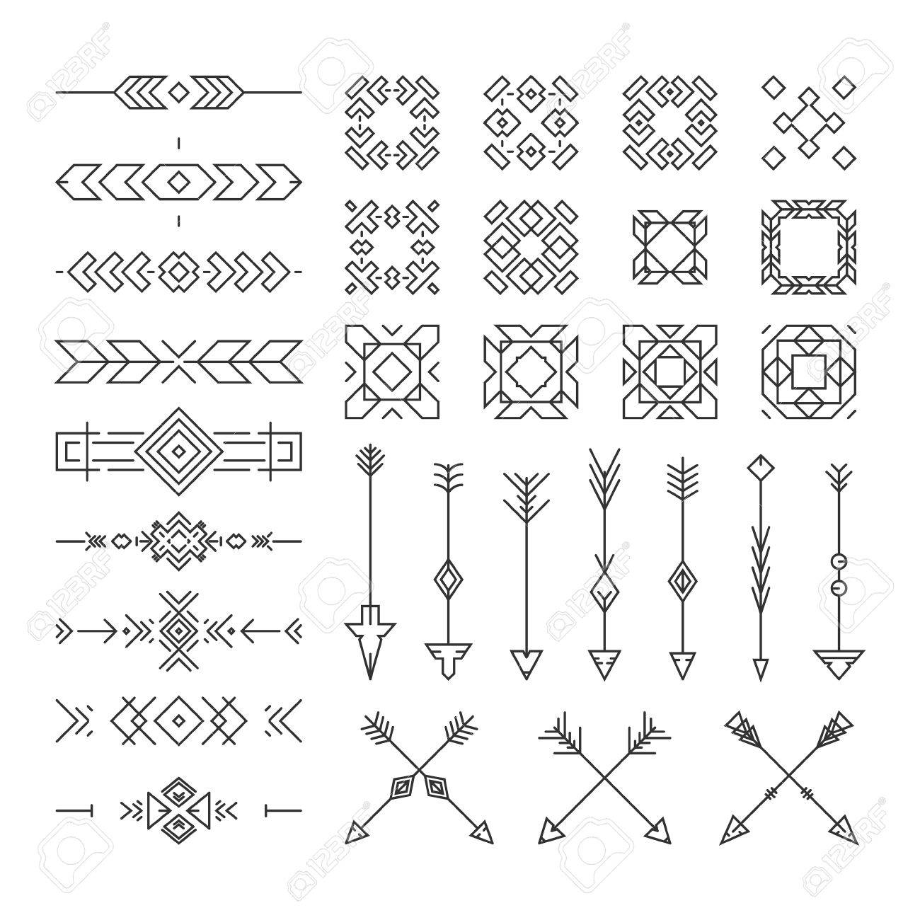 Native american design elements including borders embellishments native american design elements including borders embellishments arrows made in vector perfect design stopboris Choice Image