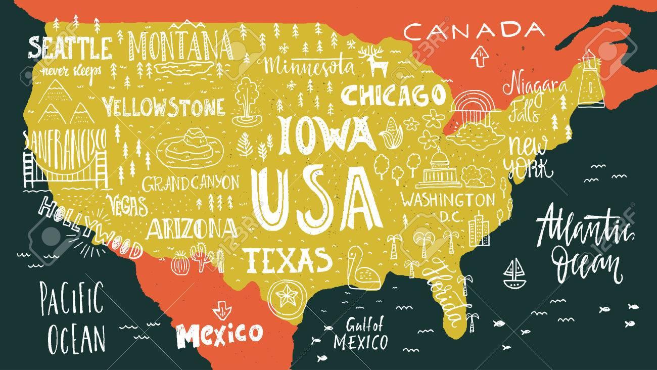 Handdrawn Illustration Of USA Map With Hand Lettering Names Of - Usa map seattle