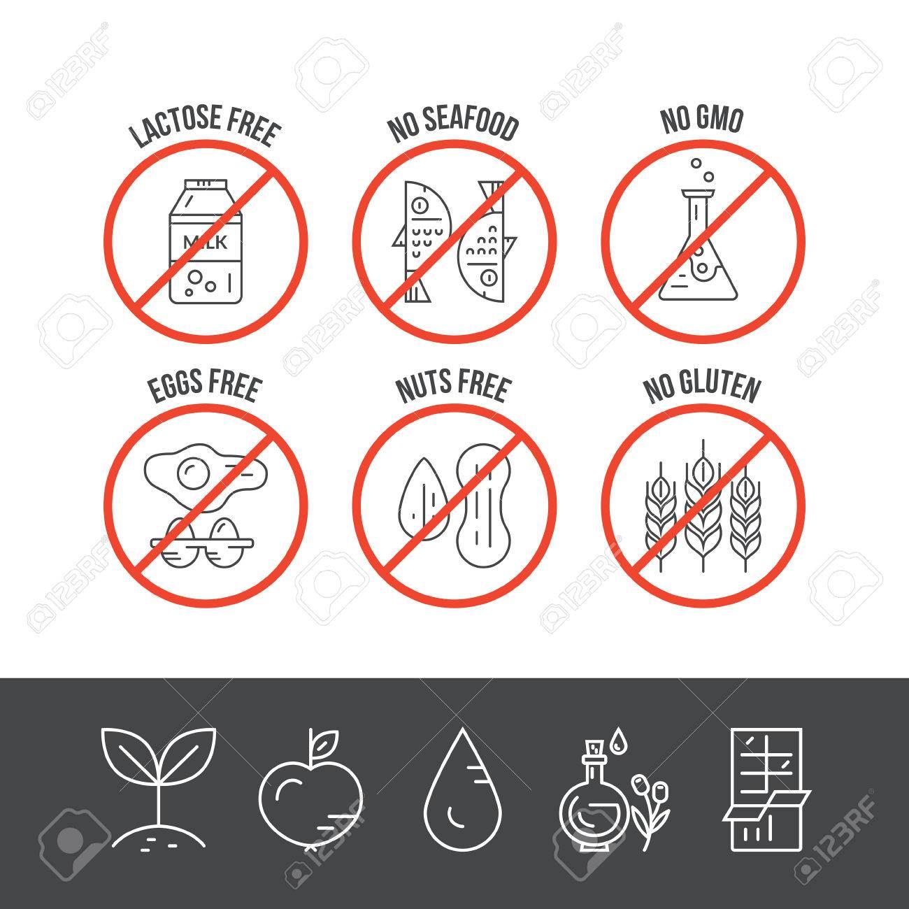 food intolerance vector icons  no seafood, no lactose, no gmo, no gluten