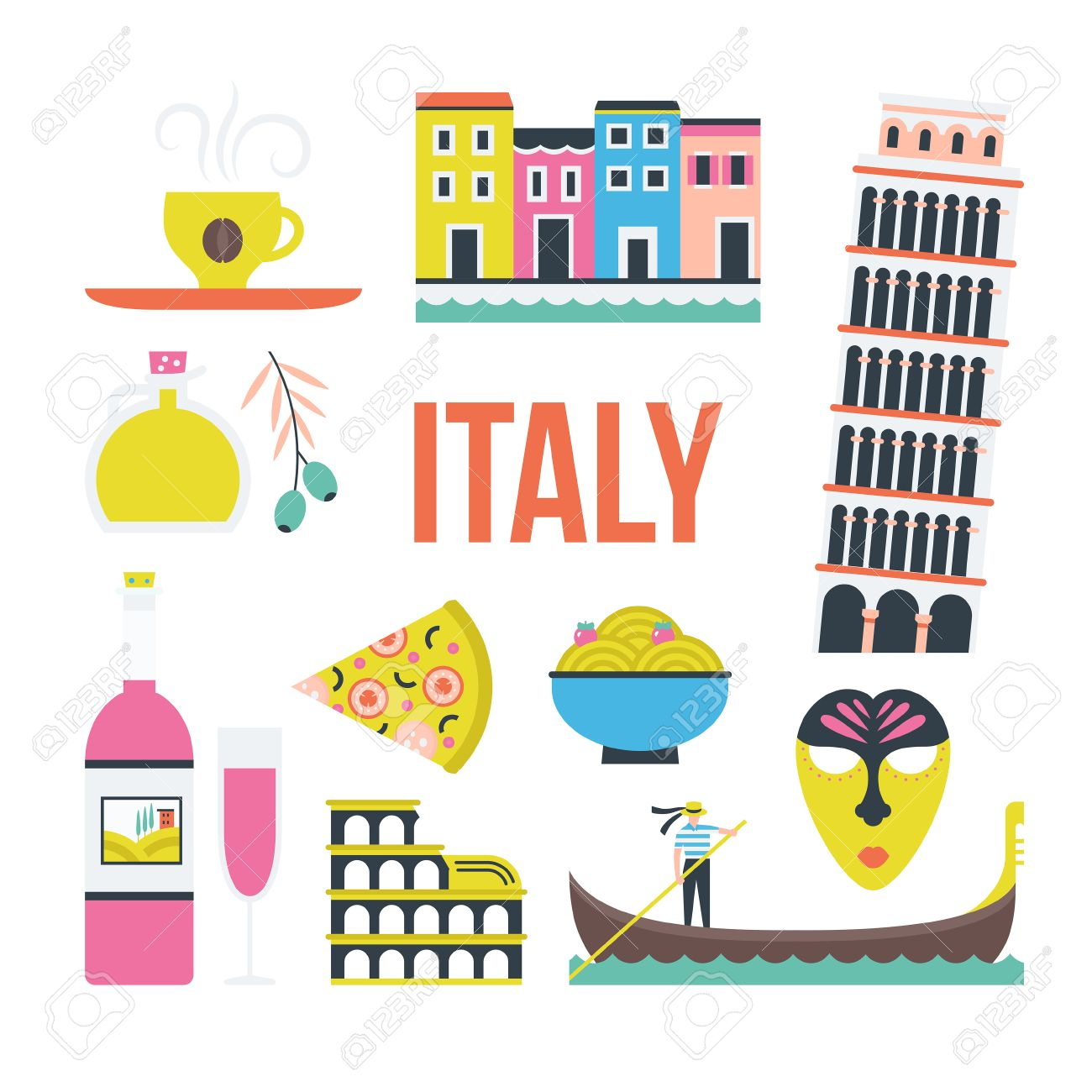 Set of symbols of italy made in vector including pisa tower set of symbols of italy made in vector including pisa tower coliseum gondola buycottarizona