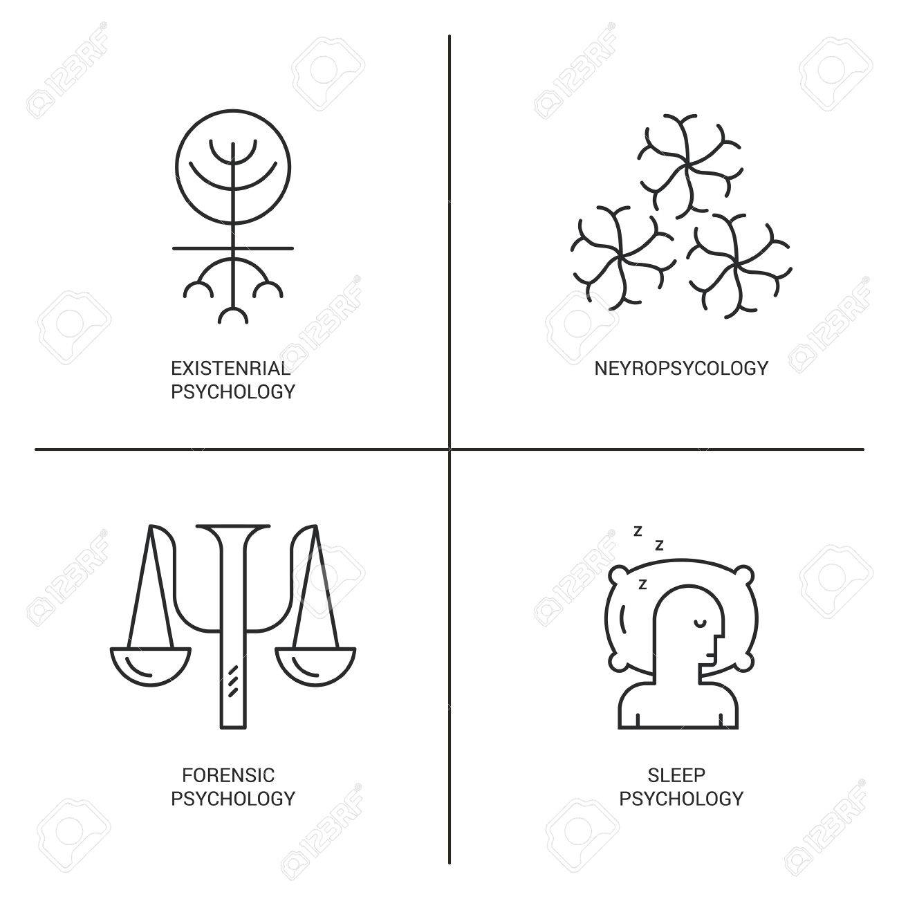 line style vector icons introducing different psychology theories including neyropsychology sleep psychologymental