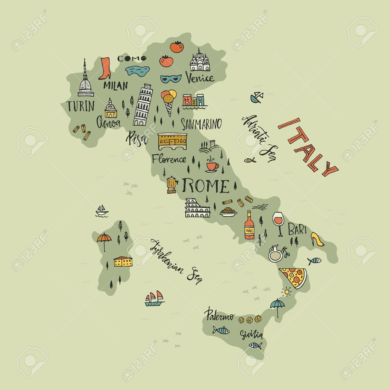 4212 Italian Map Stock Illustrations Cliparts And Royalty Free