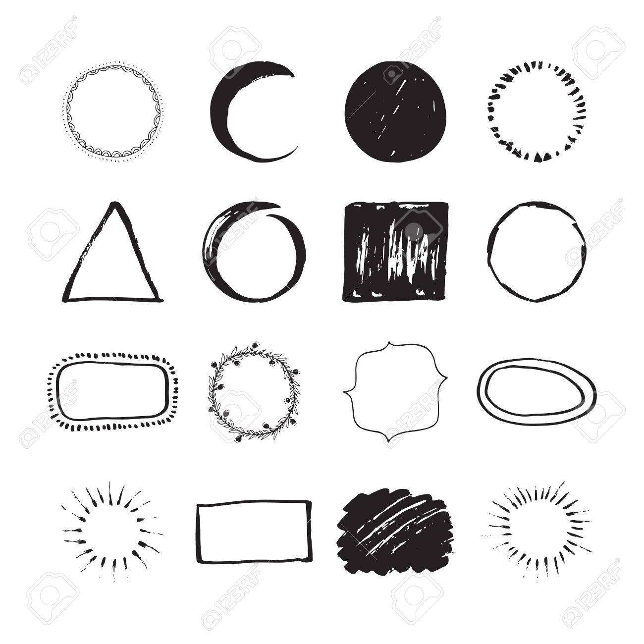 Set of round handdrawn circles and other shapes for logo design