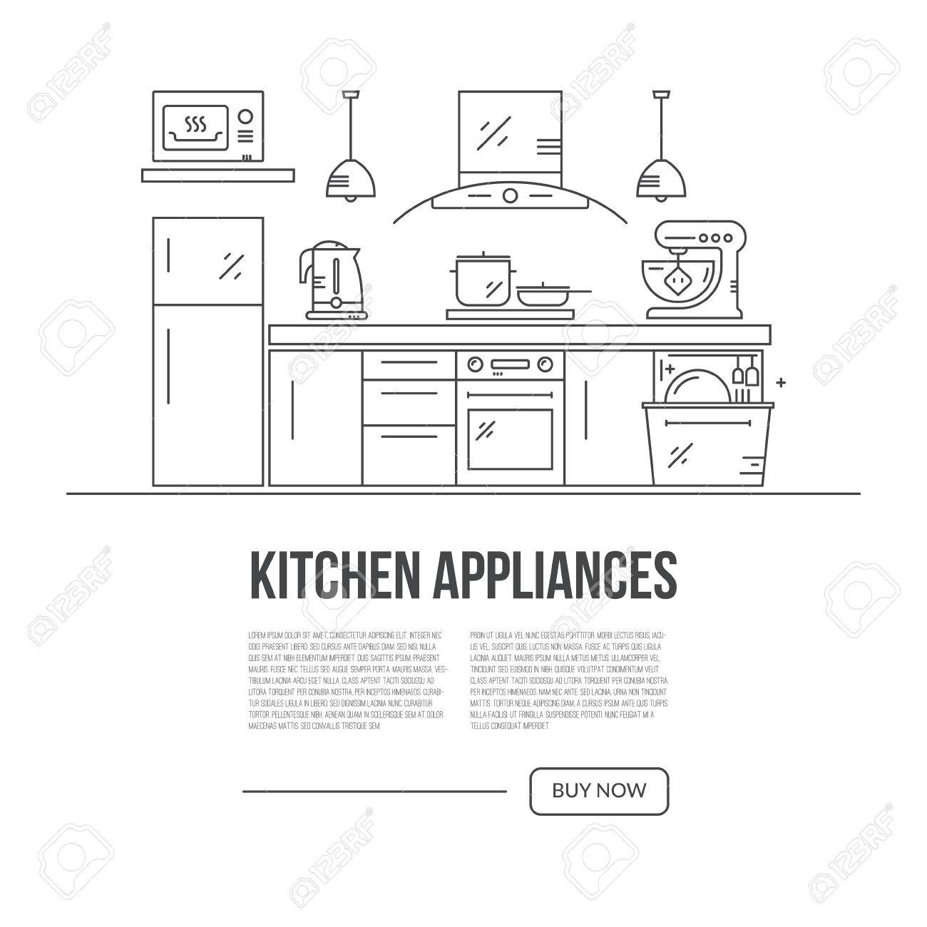 Illustration Of Modern Kitchen With Different Kitchen And House ...