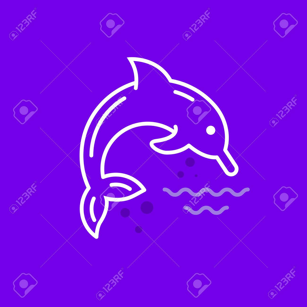 Line Style Logotype Template With Dolphin. Isolated On Background ...