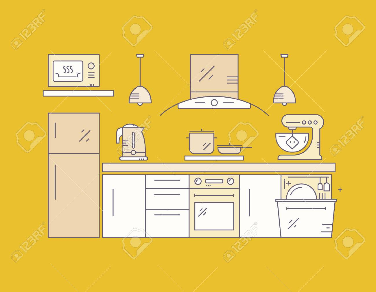 Moderne Küche Auf Gelbem Hintergrund. Haus Dekor Konzept. Küchengeräte Und Modernes  Haus Illustration
