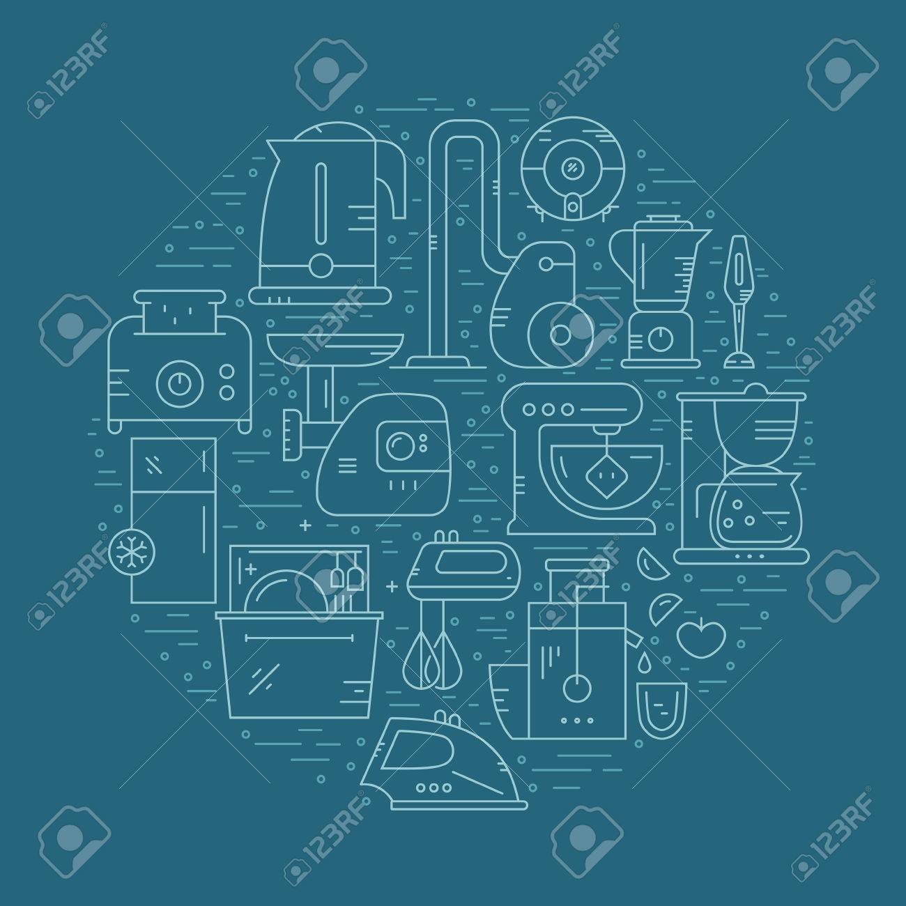 Vector Illustration With House Appliances Arranged In A Circle ...