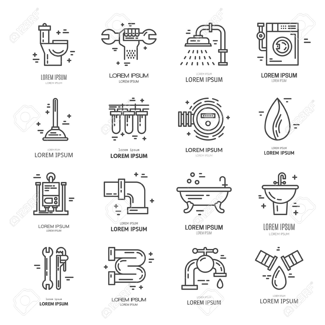 Collection Of Vector Line Icons With Plumbing Symbols Modern