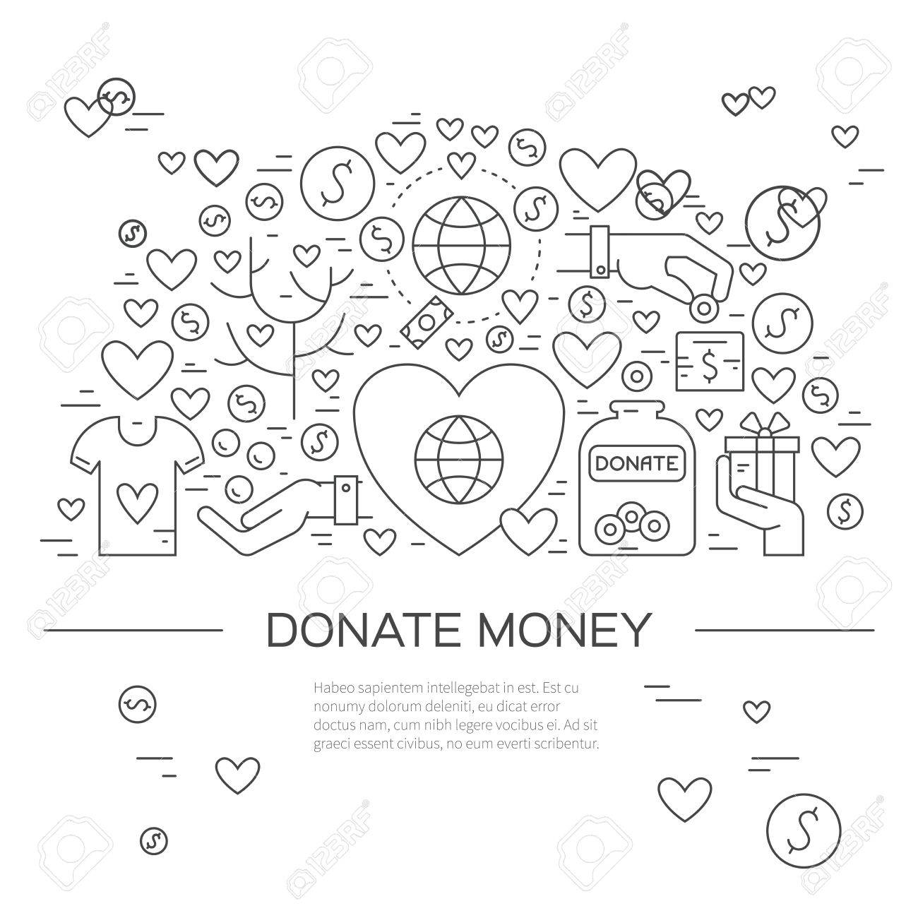 Card Or Poster Template With Charity And Fundraising Objects – Event Card Template