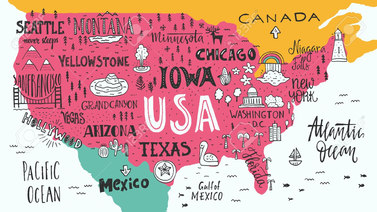 Handdrawn Illustration Of USA Map With Hand Lettering Names Of ...