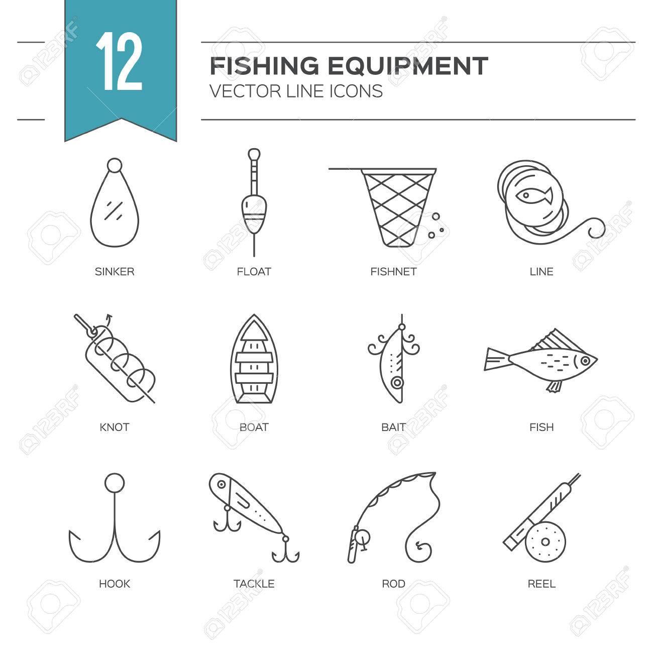 Iconos de pesca  ilustración vectorial estilo de línea  colección de  iconos  Rod, mosca, flotador, trastos, gancho y el otro engranaje para la