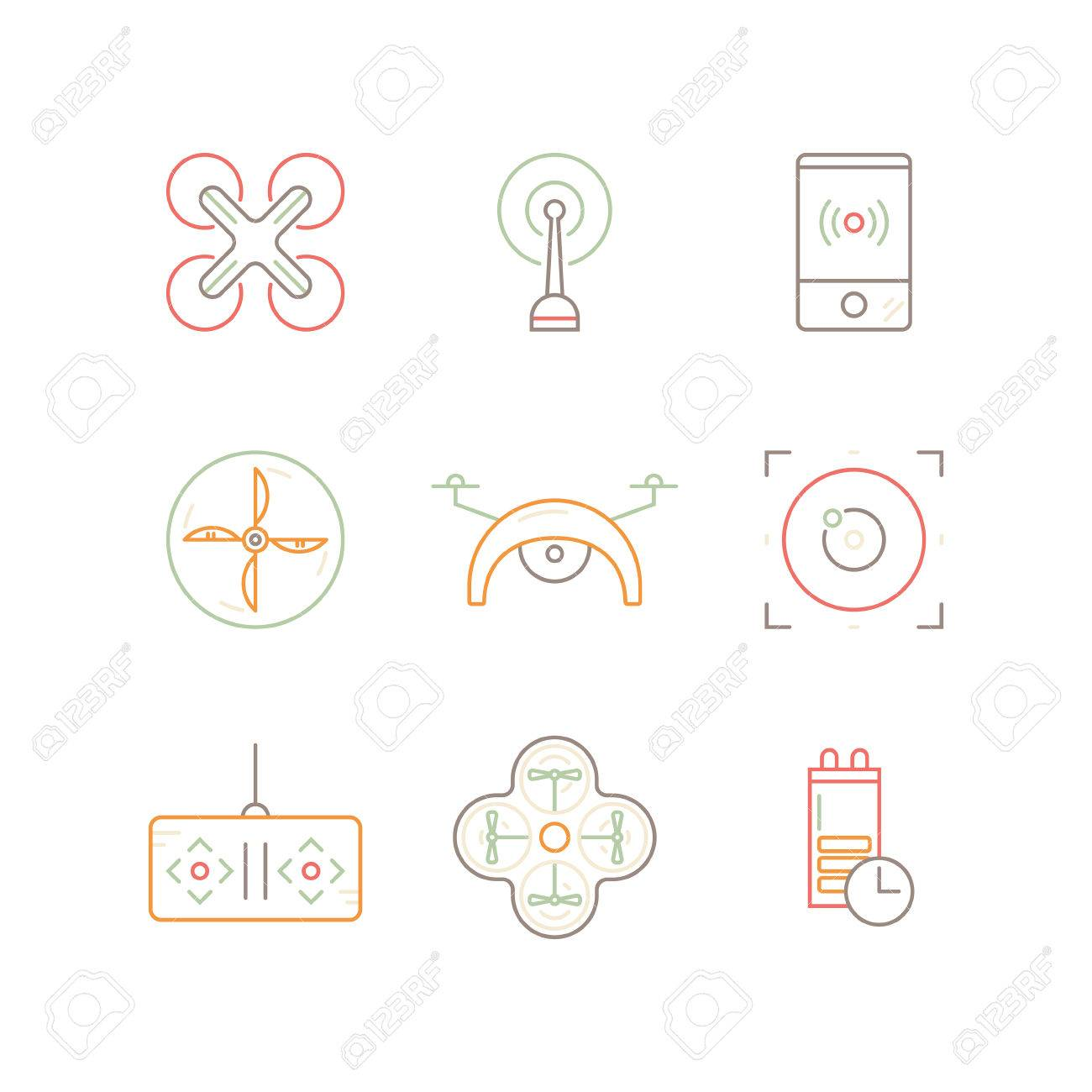Set Of Linear Drone Icons Drone Top View Remote Control Of