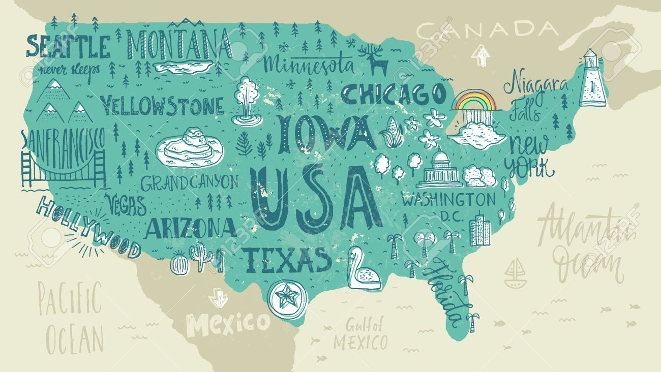 handdrawn illustration of usa map with hand lettering names of states and tourist attractions travel