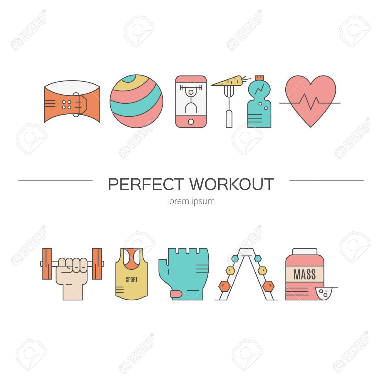 Vector Conceptual Illustration With Fitness Objects. Line Style ...