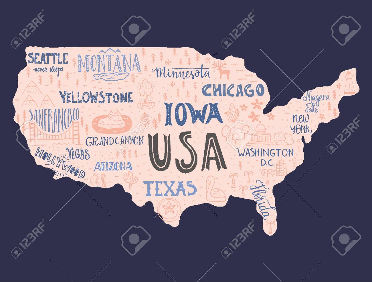 usa map handdrawn ilration with lettering and symbols of tourist attractions creative design element