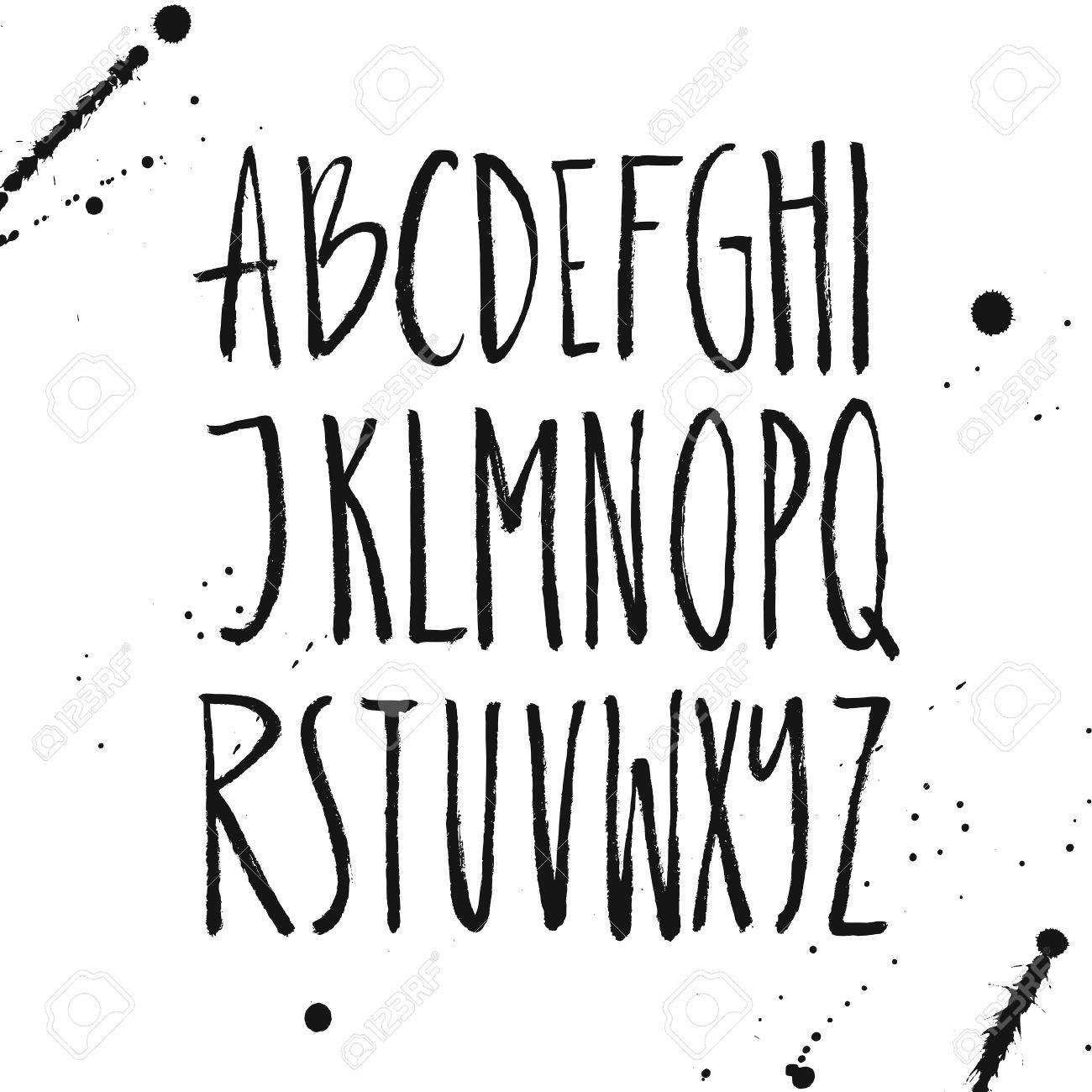 Rustic Font Unique Handdrawn Alphabet Latin Letters Drawn