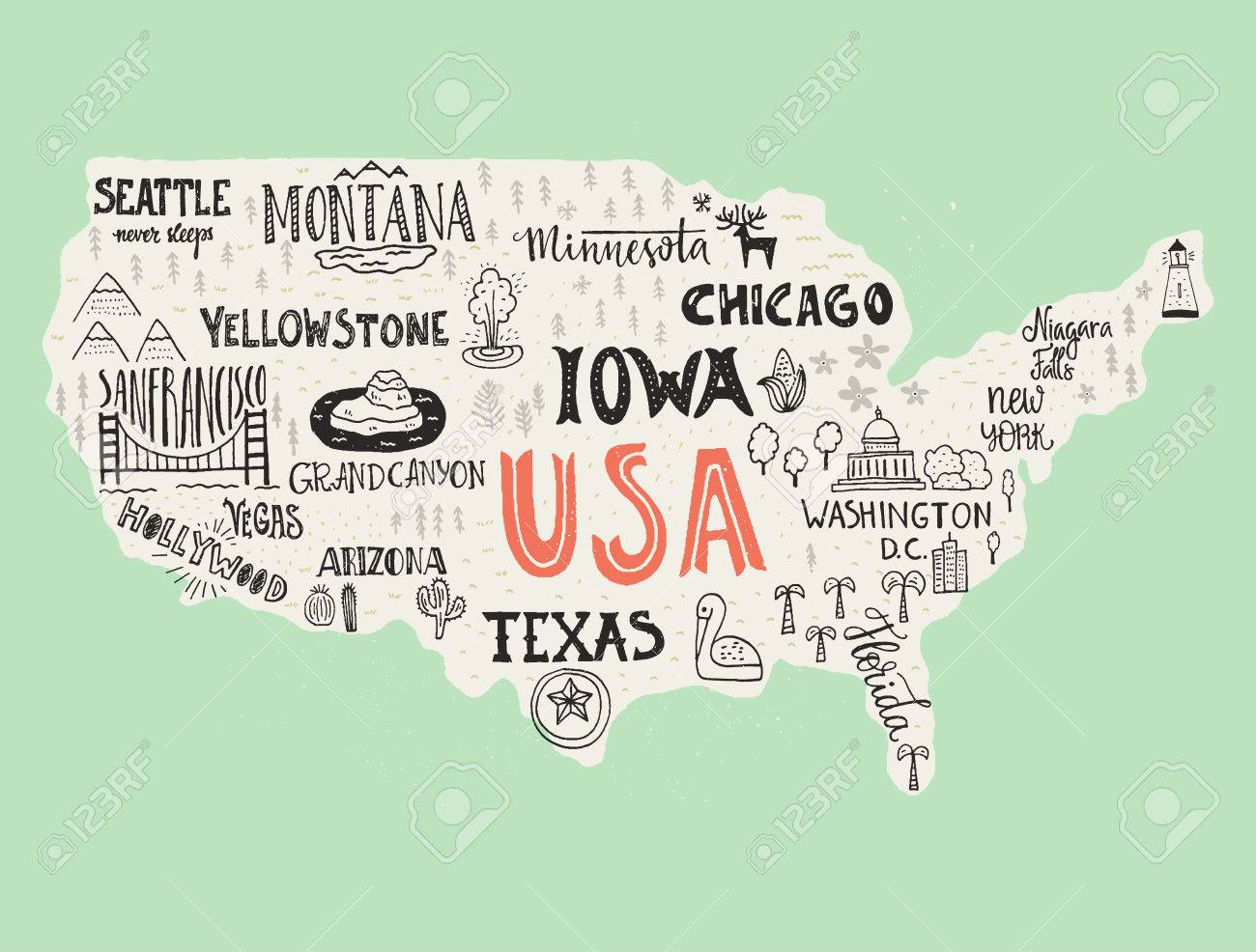 Us Map Symbols Globalinterco - Hand drawn us map vector