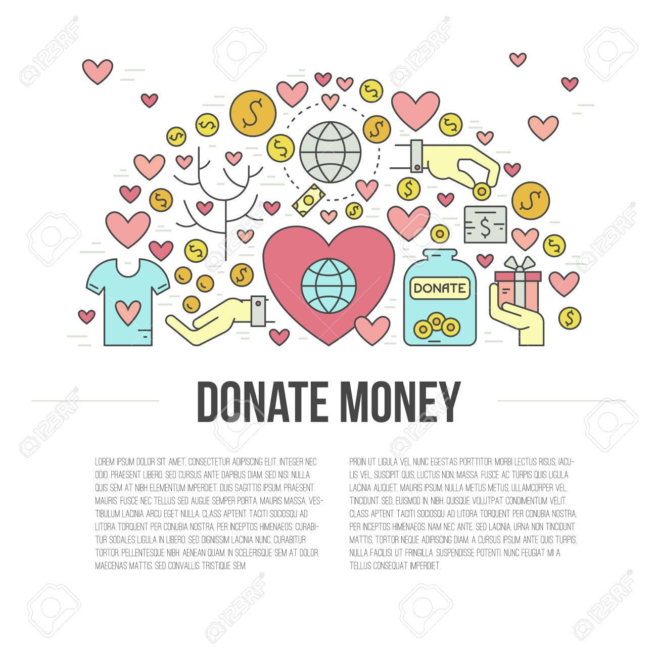 card or poster template with charity and fundraising objects