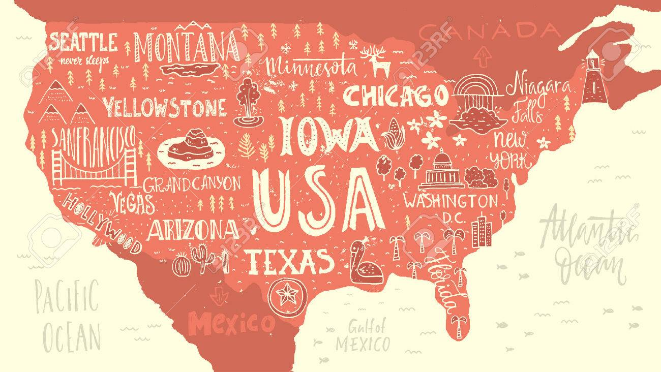 Handdrawn illustration of USA map with hand lettering names of..