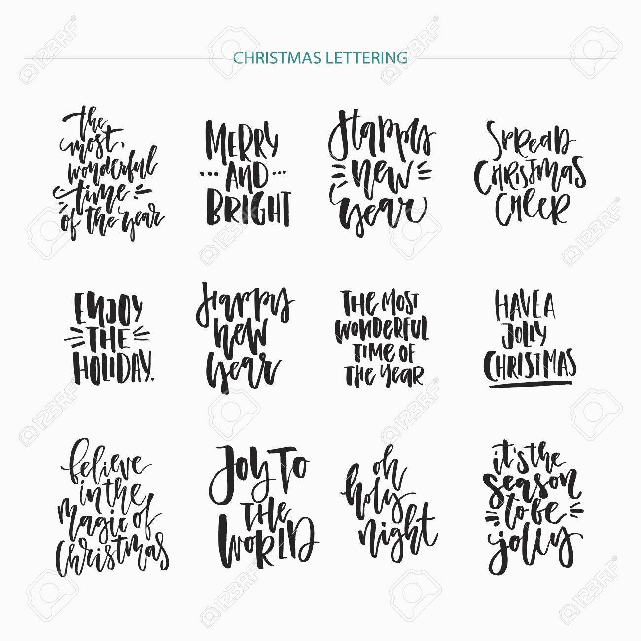 christmas lettering collection unique handdrawn phrases for christmas and new year invitations and greeting cards