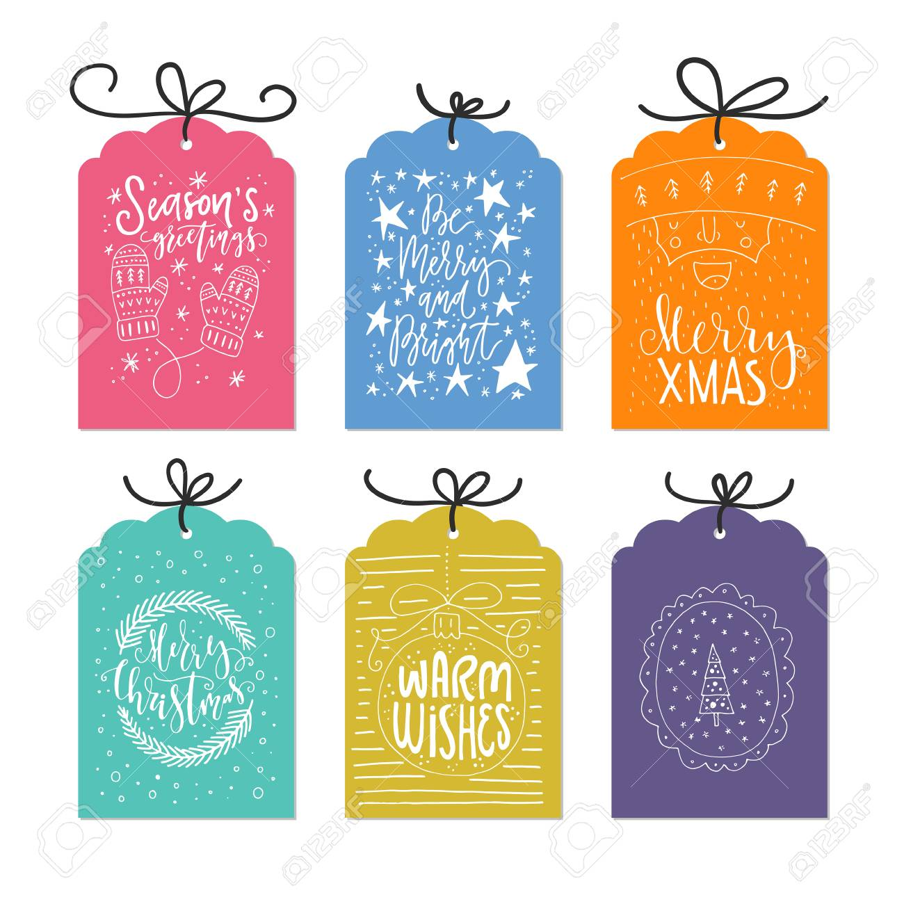vector vector set of unique christmas cards with handdrawn lettering xmas quotes collection new year greetings isolated on background