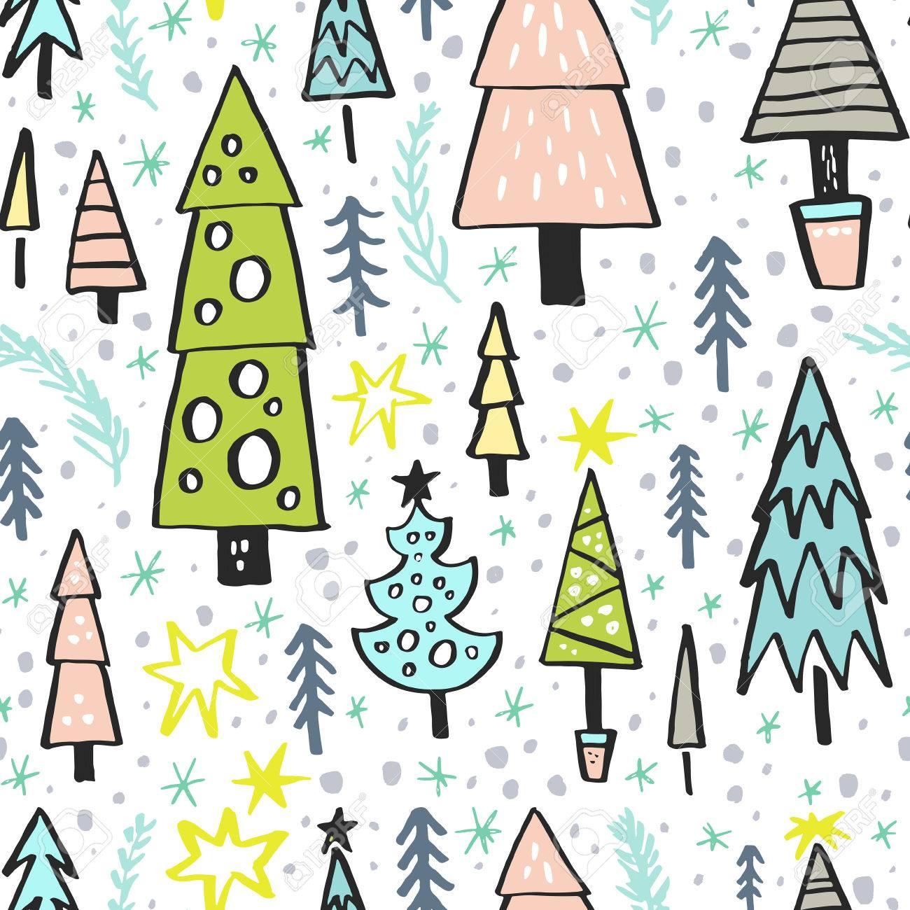 Auguri Di Natale Yahoo.Vettoriale Sfondo Di Natale Con Alberi Di Pino Modello Senza
