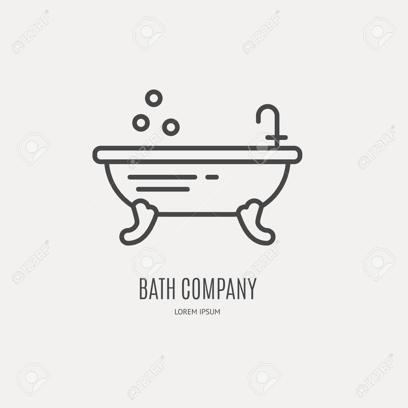 Modern Line Style Logo With Freestanding Bathtube - Vector Design ...