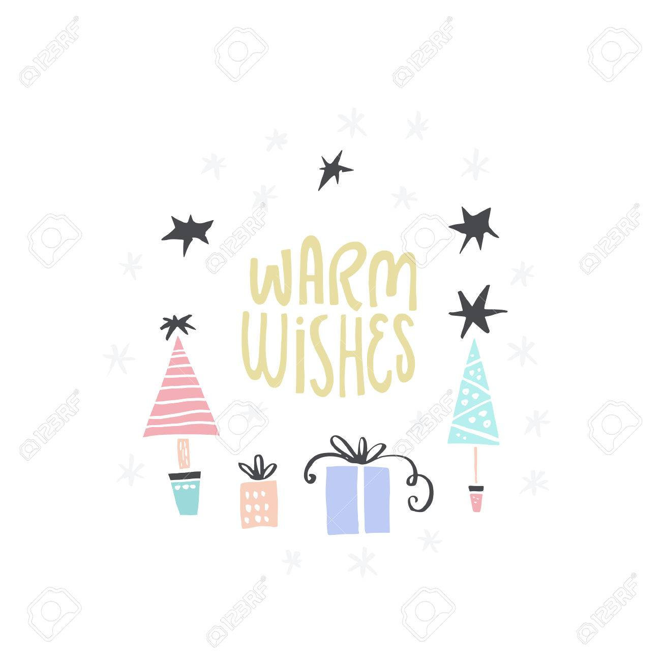 Christmas Card Design With Lettering Warm Wishes And Illustrations
