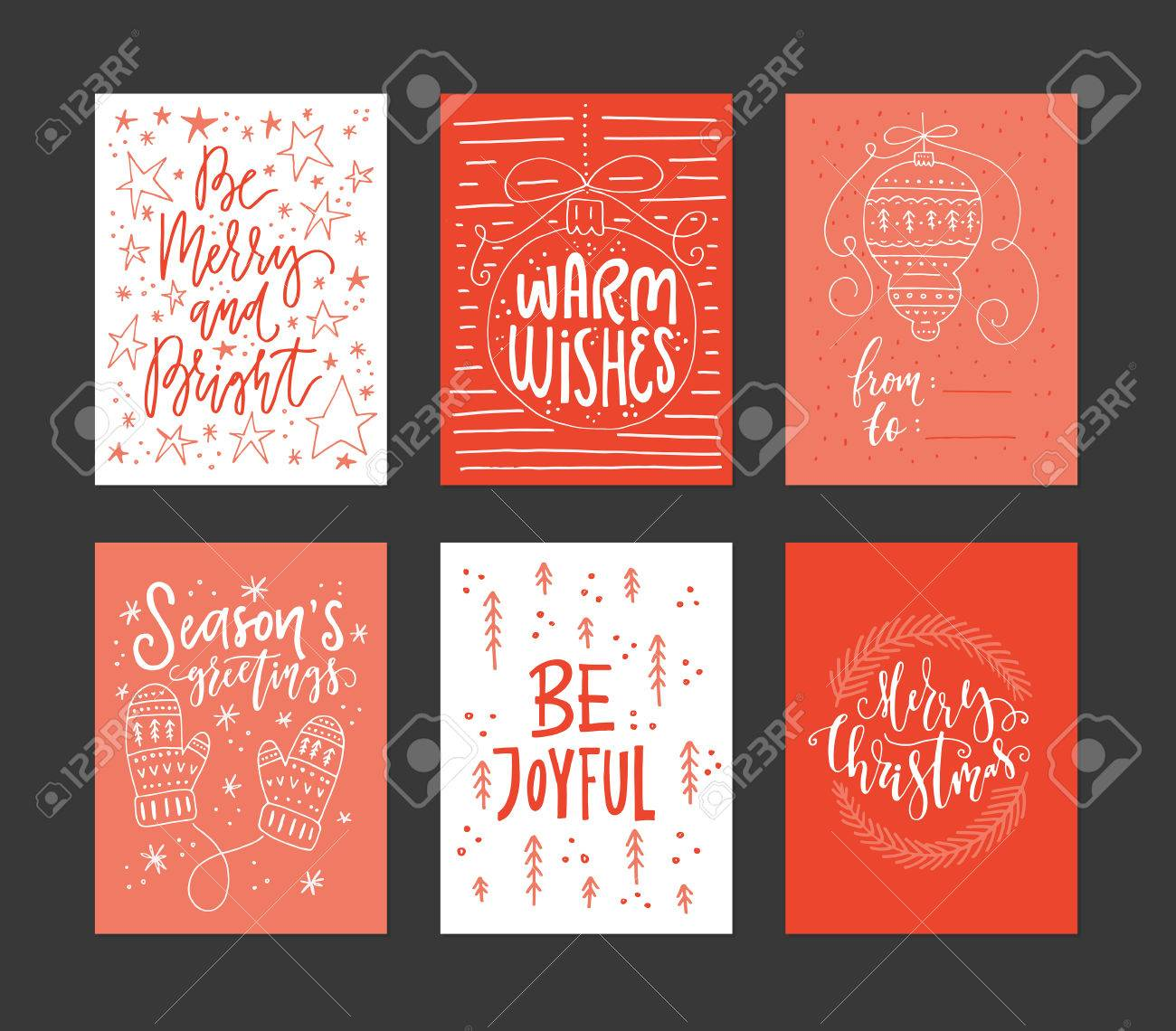 Christmas Card Templates.Collection Of Handdrawn Christmas Card Templates New Year Present