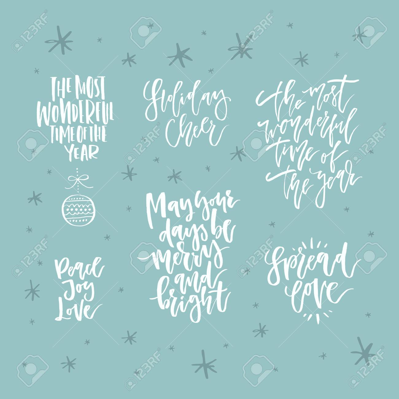 Christmas Lettering Collection Unique Handdrawn Phrases For