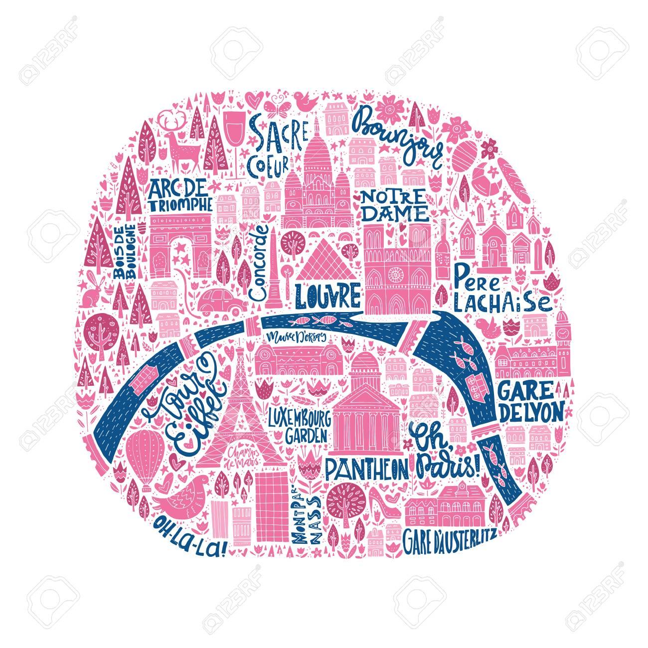 漫画のパリの地図はベクトルのイラスト素材ベクタ Image 70447843