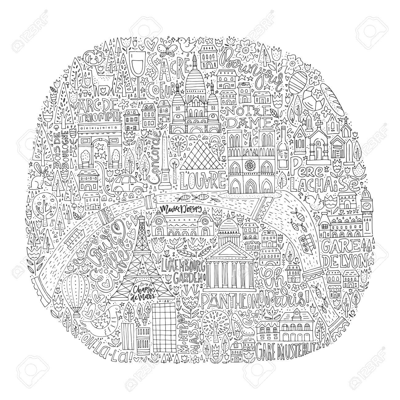 Unique handdrawn map of Paris with all main tourist attractions..