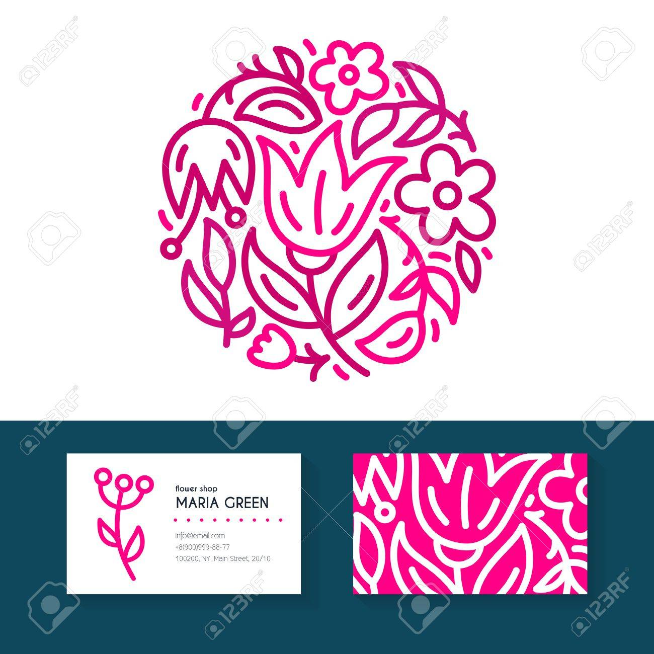 Premium business identity set with logo business card design premium business identity set with logo business card design for flower shop organic cosmetics reheart Gallery
