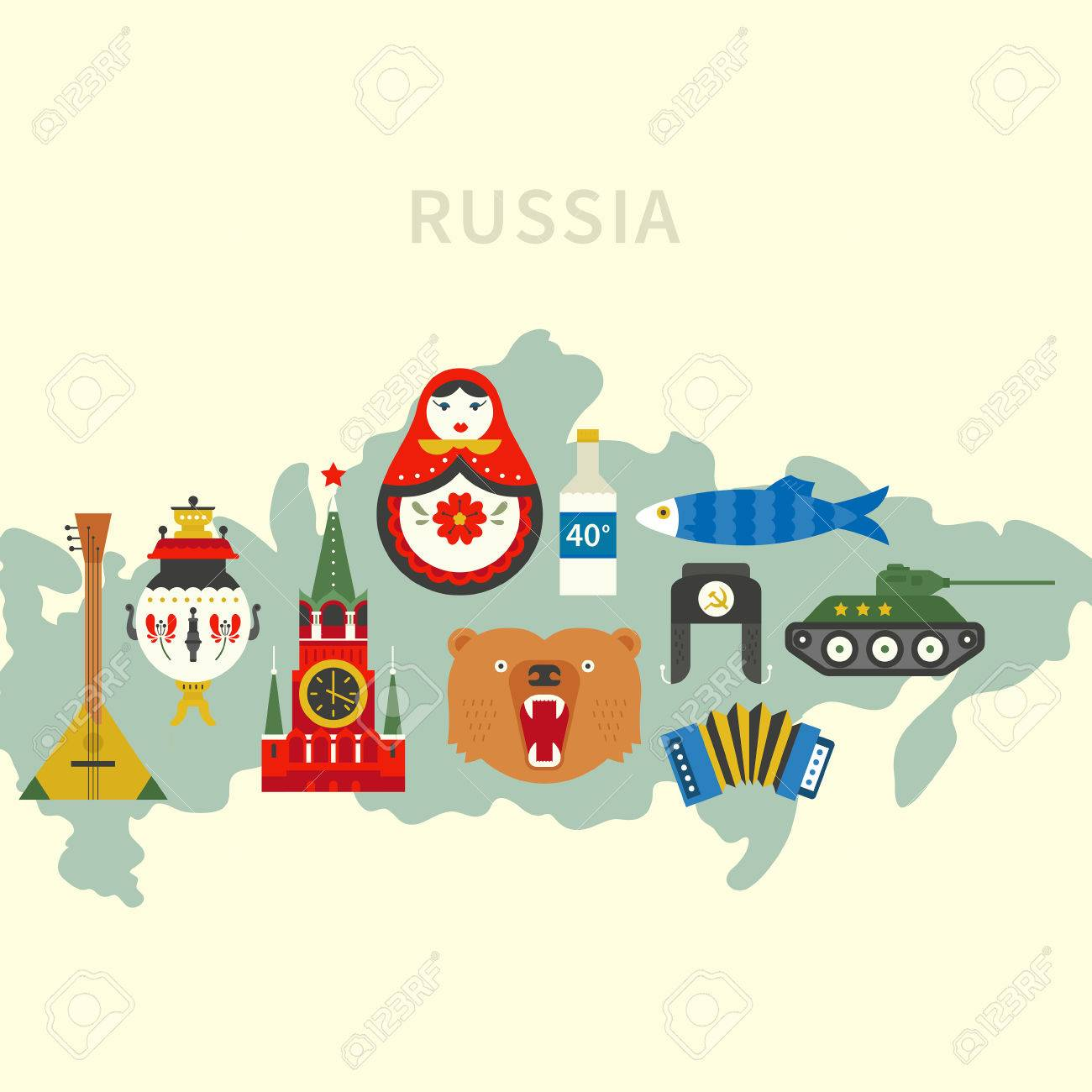 Well Known Russian Symbols On A Map Royalty Free Cliparts Vectors