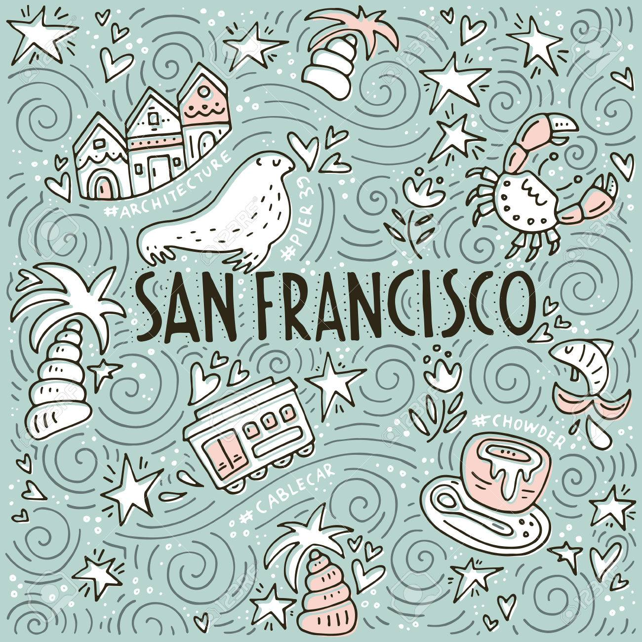 Vector Illustration With Symbols Of San Fransisco Made In Doodle