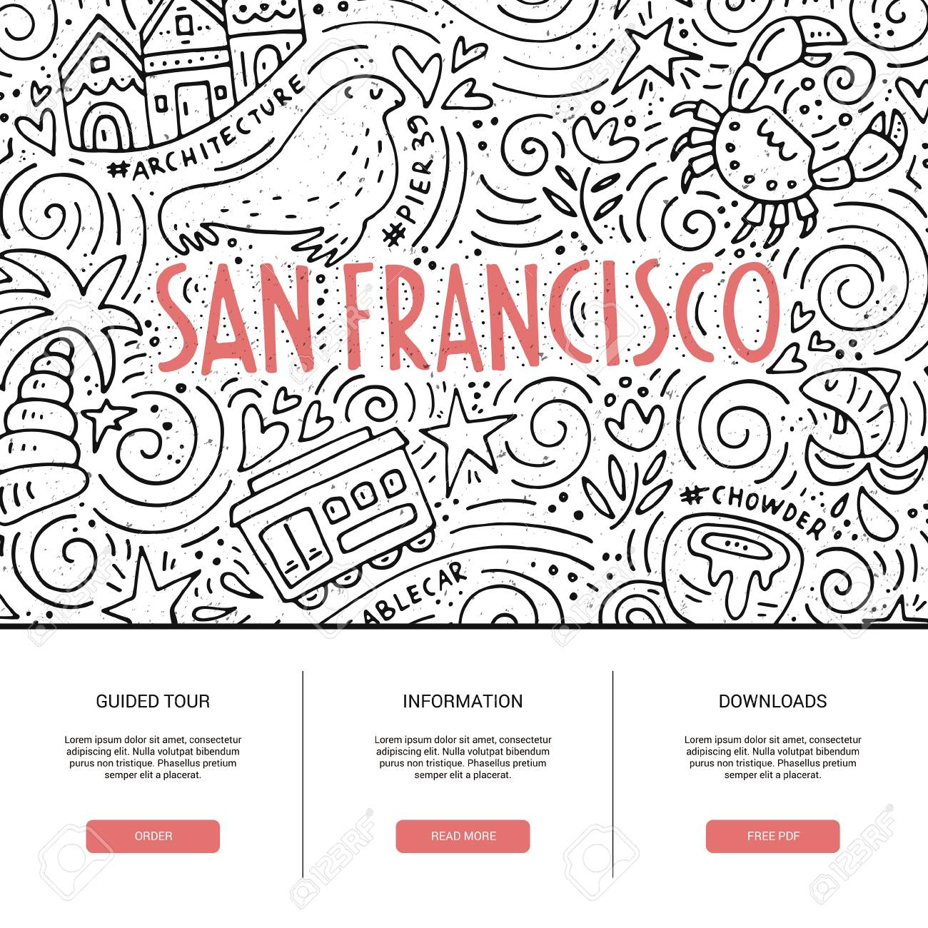 Website Template With San Fransisco Symbols Clean And Modern