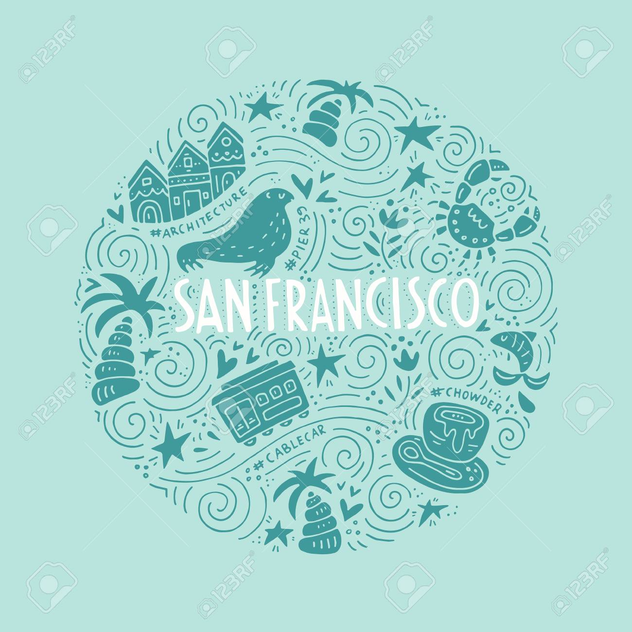 The circle with San Fransisco symbols and lettering. Vector illustration. USA series. - 74915745