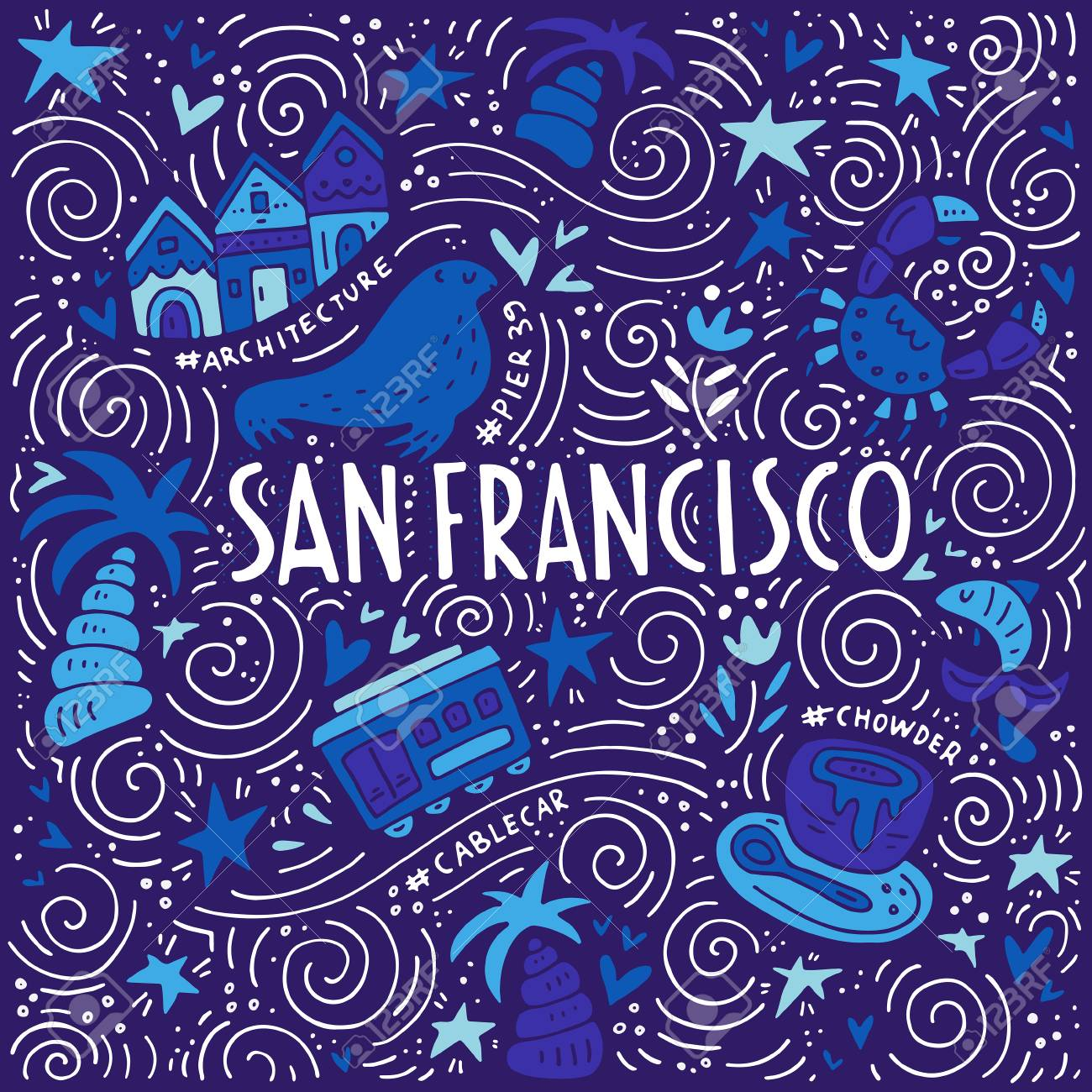 Illustration of San Fransisco with symbols of the city. Vector doodle illustration. - 74915746