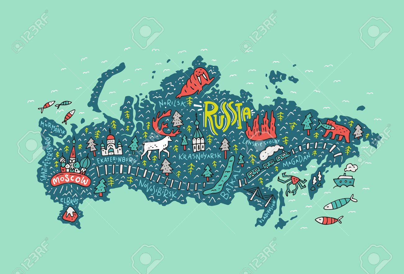 Illustrated map of Russia with all main cities including Moscow.. on illustrated wedding map, illustrated beach map, illustrated island map,