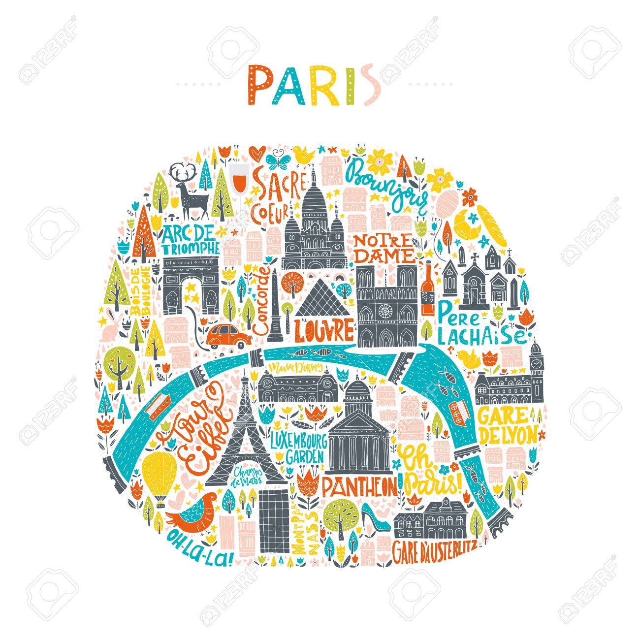 Karte Paris.Stock Photo